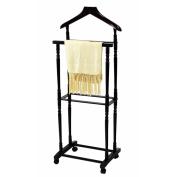 Freestanding 8 Hooks Men Suit Valet Stand/Coat Rack/Suit Stand with Suit Hanger 48cm H x 36cm W x 13cm D - Espresso