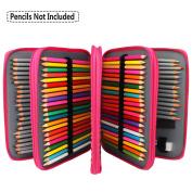 Soucolor 168 Slots Pencil Case PU Leather Handy Pencil Wrap With Zipper Super Large Capacity Pen Bag for Prismacolor Premier coloured pencils, Crayola Coloured Pencils, Marco Pens