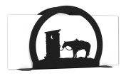 OUTHOUSE COWBOY WESTERN Metal Letter Napkin Card Holder