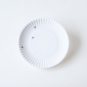 """""""What Is It."""" Larger Size 28cm Reusable White Dinner Plate with Ant Design, Melamine, Set of 4"""