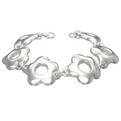 925 Sterling Silver Chunky Flower Floral Link Chain Womens Bracelet with Clasp