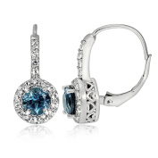 Sterling Silver London Blue & White Topaz Round Leverback Earring