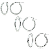 Sterling Silver Polished, Beaded and Diamond-cut 15mm Round Hoop Earrings, Set of 3