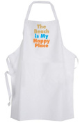 The Beach is My Happy Place – Adult Size Apron - Ocean Waves Sand Sun Vacation