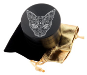 Cat Tattoo Laser Etched Design 4pcs Large Size Herb Grinder With FREE Scraper & Velvet Pouch Item # ETCH-G012317-237