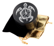 Hawaiian Turtle Laser Etched Design 4pcs Large Size Herb Grinder With FREE Scraper & Velvet Pouch Item # ETCH-G012317-121