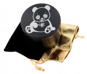 Panda Chewing Leaf Laser Etched Design 4pcs Large Size Herb Grinder With FREE Scraper & Velvet Pouch Item # ETCH-G012317-171