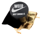 Just Smoke It Laser Etched Design 4pcs Large Size Herb Grinder With FREE Scraper & Velvet Pouch Item # ETCH-G012317-128