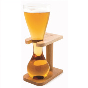 CKB Ltd Quarter Yard Tall Ale Glass With Smart Birch Wood Stand Holder - You Can Fill This Tall Sleek Glass To Brim - Avoid Fast Flowing Beer As You Near End