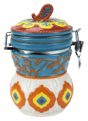 Hinged Jar, Elephant Caravan Collection, Hand-painted Earthenware Storage Container by Boston Warehouse