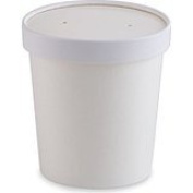 Double-Wall Poly White Paper Containers with Vented lids [25 pack]