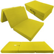 Children folding guest matress 120 x 60 x 6 cm transportable fold out kids matress in different colours, Colour:Yellow