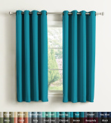 H.Versailtex Thermal Blackout Pair Eyelet Ready Made Curtains, Teal, Warm Protecting & Noise Reducting, 140cm Width x 180cm Drop, Set of 2 pieces