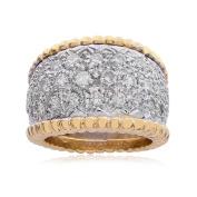 1.50 Carat Diamond Round Cut Milgrain Wide Ring 14K Two Tone Gold