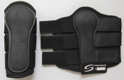HORSE NEOPRENE BLACK BRUSHING BOOTS DOUBLE hook and loop EQUESTRIAN VARIOUS SIZES FREE UK DELIVERY