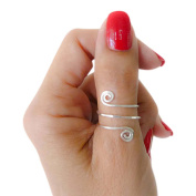 Sterling Silver Faceted Swirl Wire Wrap Adjustable Thumb Ring