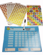 Magnetic Owl Reward Chart Set, Reusable, includes marker stickers stars, Toddler Child Behaviour Potty Training BLUE