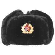 Russian Army Style Winter Cap Warm Trapper Hat Ear Flaps with Badge Black