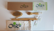 100% Natural Dry Body & Face Brush with natural bristles and Bamboo for Exfoliation, Detox, Reduce Cellulite & Boost Lymphatic System - by ChikuBambu Ltd