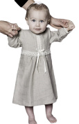 Christening dress / After christening dress in nature coloured linen with short sleeve from Grace of Sweden