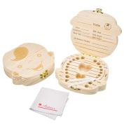 Antner Baby Tooth Box Save Wooden Deciduous Souvenir Case Teeth Keepsake Organiser for Boy