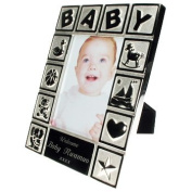 Engraved Silver Plated Playtime Baby Photo Frame - a lovely gift for any newborn baby