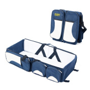 Adoraland Lovelybaby 3 in 1 - Nappy Bag Multifunctional Baby Portable Foldable Bag Baby Bassinet Baby Crib Mummy Travel Tote Bag Blue