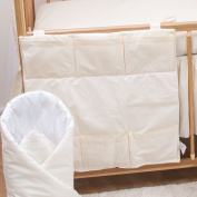 Nursery Baby Cot Tidy   Organiser for Cot   Cotbed   Cot Bed - Plain Cream