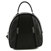 Made In Italy Genuine Leather Woman Backpack Colour Black Tuscan Leather - Backpack
