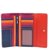 Leather Tri-Fold Wallet With Outer Zip Purse - MyWalit - Sangria Multi