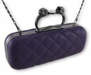 Purple Quilted Vinyl Clutch Purse with Gunmetal Grey Skull Handle
