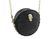 Studded Round Evening Bag with Skull and Chain Strap