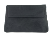LONI Womens Charming Envelope Clutch Shoulder Crossbody Evening Wedding Bag in Faux Suede in Black