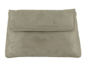 LONI Womens Charming Envelope Clutch Shoulder Crossbody Evening Wedding Bag in Faux Suede in Mouse Mushroom Taupe