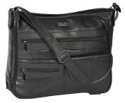 Womens Genuine Leather Organiser Multi Pockets Bag Messenger Style HOL998 Black