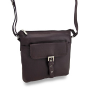 Genuine Leather Cross Body Satchel w/Adjustable Strap and Buckle Front