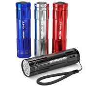 Pack of 4, BYB Super Bright 9 LED Mini Aluminium Flashlight with Lanyard, Assorted Colours, Batteries Not Included, Best Tools for Camping, Hiking, Hunting, Backpacking, Fishing and BBQ