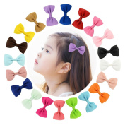 BlueMixc 20pcs Hair Barrette bowknot Clips Grosgrain Ribbon headhands Boutique Hair bows Alligator Clips for Girls