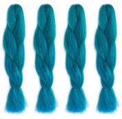 American Dream Premium Kanekelon Braid for Hair Weaves, Dreads and Avant Garde Creative Styling, Bright Green, Purple and Dark Blue Mix, Pack of 4