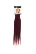 1st Lady Silky Straight Natural European 3 pcs Clip on Human Hair Extension with Premium Blend, Number SP1, Dark Burgundy, 46cm 28g
