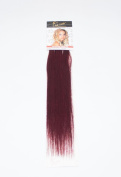 1st Lady Silky Straight Natural European 3 pcs Clip on Human Hair Extension with Premium Blend, Number SP2, Medium Burgundy, 46cm 28g