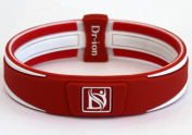 Dr-ion Negative Ion Performance/Power Wristband of Double-Tone Design (Orange Red/White/Red)