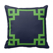 Navy Blue and Green Greek Key Border Pillow Cover Case Zippered Decorative 46cm x 46cm (two sides) by Poppy-Baby