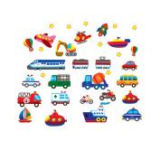 Boys Girls Nursery Bedroom Decoration Wall Sticker Decal Cars Trains Trucks Boats