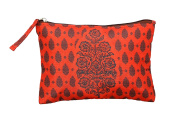 Digitally Printed Ethnic Pouch 100% Polyester Reversible Design Waterproof Quilted 15cm X 23cm ,EDB-4Red