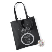 HE ASKED & I SAID YES IN METALLIC SILVER - 100% Cotton Tote Bag Wedding Gift Planning Engaged Proposal Valentines