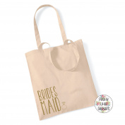 BRIDESMAID & RING IN METALLIC GOLD - 100% Cotton Tote Bag Wedding Gift Planning Favour