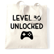 Level 30 Unlocked Birthday Gift For Gamers Gaming Controller Level Up 30 Year Old Pc Console Shopping Tote Bag Cool Funny Gift Present Bag