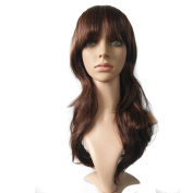 CW.LYANS Brown Wavy Long Hairstyle Wig,Hign-temperature Resistance Fibre Synthetic for Women with Free Wig Cap