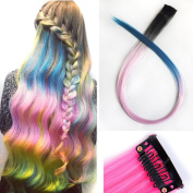 Miya® 1 Piece Clip In Hair Extensions Hair Wigs Synthetic Hair with Attractive Gradient Colour, Very Nice Accessoire for your party, fancy dress, Carnival, Fixed, Black/Light Pink/Blue